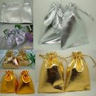 Lots Drawstring Gift Bags Gold Silver Wedding Party Favour Jewellery Pouches New