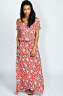 Boohoo Womens Sue Off The Shoulder Floral Button Front Maxi Dress