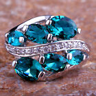 Expecial Oval Cut AAA Green & White Topaz Gemstones Silver Ring Size 6 7 8 9 10