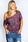 Boohoo Womens Plus Size April Paisley Printed Oversized Tee Top in Purple