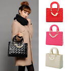 New Luxury Women's Handbag Patent Leather Quilted Beading Square Shape Tote Bag