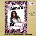 Personalised Pink Glamour Birthday Party PHOTO Poster N24. A4 or A3 Size ANY AGE