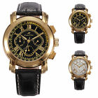 Brand New KS Black Leather Automatic Mechanical Date Day 6 Hands Wrist Men Watch