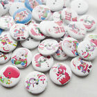 E646 Santa Christmas Wood Buttons 25mm Sewing Craft Mix Lots 10/50/100/500pcs