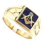 Mens Masonic Mason Blue Background Gold Plated Stainless Steel Ring