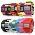 Sport Digital LED Date Day Multicolor Rubber Rainbow Band Block New Unisex Watch