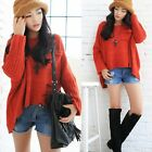 Pullover Batwing Sleeve Womens Loose Sweaters Jumpers Knitwear Asymmetric 6922