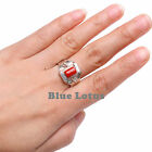 925 Sterling Silver Natural Red Coral Saddle Shape Handmade Ring