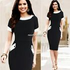 Sheath Short Sleeve Bodycon Evening Party Women's Pencil Dress Stretch N4U8