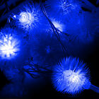 New 10m 60 LED Fluffy Ball-Shaped String Fairy Light Lamp For Decor Christmas