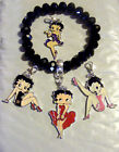 Betty Boop Charm Stretch Bracelet 4 Charms Interchangable Gift Box New