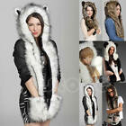 HOT Warm Faux Animal Fur Hat Fluffy Dint Shawl Hood Scarf Glove Winter Plush Cap