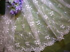"WH or Light Ivory embroidered mesh netting-52"" wide. Sold/Priced by the yard"