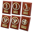 Personalised Mahogany Finish and Pewter Golf Trophy Awards, Engraved Plaque