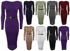 New Ladies Jersey Belted Long Sleeve Stretchy Fitted Bodycon Womens Dress 8-14