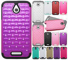 For HTC Desire 510 HYBRID IMPACT Dazzling Diamond Case Phone Cover +Screen Guard