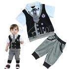 New Kids Baby Boy Cotton Gentleman Top T-Shirt + Short Pants 2PCs Outfit Clothes