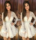 Women Lace Long Sleeve Plunge Deep V Neck Evening Party Bodycon Mini Dress EA