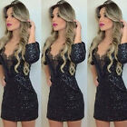 Women Sexy Bodcyon Lace Splicing Club Wear Cocktail Party Bandage Mini Dress