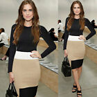 Women Autumn/Winter Patchwork OL Long Sleeve Bodycon Slim Pencil Party Dress