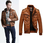 New Mens Winter Warm Pu Leather Parka Trench Coat Thicken Lining Outwear Jacket