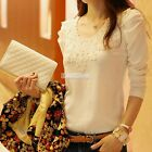 1PC Women Lace Crochet Embroidery Tops Long Sleeve Tee Shirt Casual Blouse 2Colo