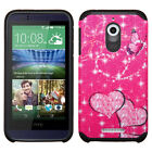 For HTC Desire 510 HARD Hybrid Rubber Silicone Case Phone Cover + Screen Guard