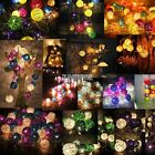 16 Mixed Earth Tone Handmade Rattan Balls Fairy String Lights Party Home Decor