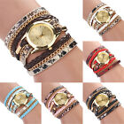 Hot Trendy Women's Leopard Braided Faux Leather Analog Bracelet Wrist Watch