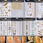 New Metallic Tattoo Gold Silver Black Temporary Bling Flash Tats 1 Sheet
