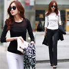 Women Girls Mesh Slim Fitted Casual Blouse Crew Neck Long Sleeve T-Shirt Tops