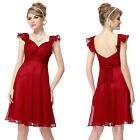 Ever Pretty Flutter Sleeve Ruched Bust Bow Short Red Formal Party Dress 03930