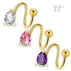 TT 14K Gold GP Teardrop S Belly Bar Ring 3 Color Available (BLS05)