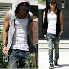 mens hoodie gym hoody athletic tank top undershirts vest sleeveless t-shirt