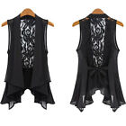 Women Sheer Chiffon Lace Top Slim Fit Waistcoat Vest Sleeveless Ruffles Cardigan