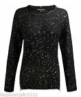 NEW LADIES BLACK  RED BEIGE SILVER SPARKLY SEQUIN CREW NECK JUMPER TUNIC TOP