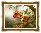 Framed Wall Art Martin Johnson Heade Orchids and Hummingbird Repro Canvas Print