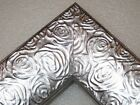 "2.3"" Aged Metallic Silver Rose Ornate Wood Canvas Picture Frame-Custom Standard"