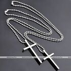 Lovers Gift Stainless Steel Polish Classic Cross Pendant Ball Chain Necklace Hot