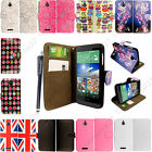 For HTC Desire 510 New Stylish Leather Flip Book Wallet Pouch Case Cover +Stylus