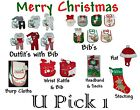 BABY'S 1ST HOLIDAY CHRISTMAS OUTFIT GIRLS BOYS BIB CHILDREN CLOTHES FIRST