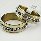 10-30pcs Stainless Steel Frosted Chain Gold Rings for Women Mens Wholesale Lots
