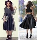 New Sexy Women Pu Leather Vintage Flippy Full Skirt Stretch Waist Dress 2 Colors
