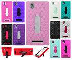 For T-Mobile ZTE ZMAX HYBRID IMPACT KICKSTAND Diamond Case Cover + Screen Guard