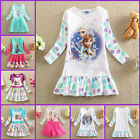 UK-0522 White Fancy Frozen Anna Elsa Costume Party Princess Girls Dress Age 3 -8