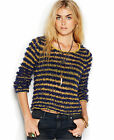 FREE PEOPLE Downy Stripe Fuzzy Knit Pullover Sweater - Navy Combo $108