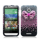 For HTC Desire 510 Crystal Diamond BLING Hard Case Phone Cover + Screen Guard