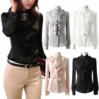 New Women's White Chiffon Lace Stand Collar Ruffle Trim Front Top Shirt Blouse