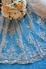 "White or Ivory Bridal Lace fabric with beads & sequins-52"" wide-Sold by 1/2 yd"