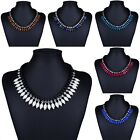 Womens Oval Resin Beads Crystal Bib Box Link Chain Necklace Collar Statement New